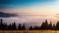 Time lapse clip. Fantastic mountain landscape with fog. Carpathian, Ukraine Stock Footage