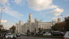 Cibeles Square, Palacio De Comunicaciones Madrid, Spain Stock Footage