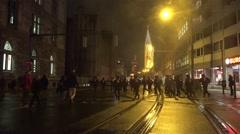 4k Police troop running in hurry to Pegida demonstration Stock Footage