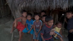 Group of indigenous children looking to camera - stock footage