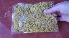 Homemade noodle in plastic package Stock Footage