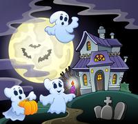 Haunted house theme image 3 - stock illustration