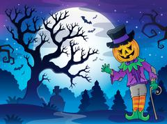 Stock Illustration of Scenery with Halloween character 2