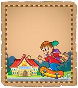 Parchment with boy near school Stock Illustration