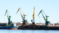 Port works - few cranes work in port fast motion Stock Footage