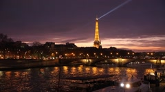 The famous city of Paris at night in France. Stock Footage