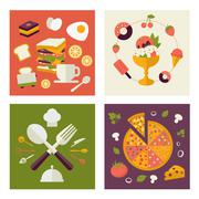 Colored fresh healthy food flat design with fruits, vegetables, vegan and Stock Illustration
