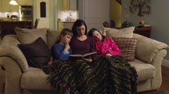 Mom Reading to Kids Wide Stock Footage