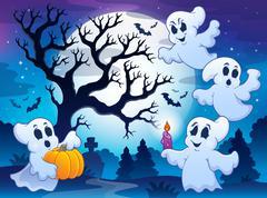 Spooky tree theme image 4 - stock illustration