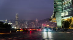 The traffic outside of the International Commerce Center in Hong Kong,China - stock footage