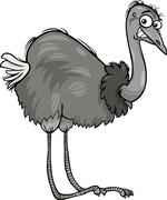 nandu ostrich bird cartoon illustration - stock illustration