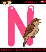 letter n for nightingale cartoon illustration - stock illustration