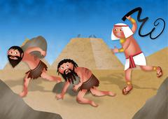 Slaves in Egypt - Jewish Passover Cartoon - stock illustration