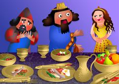 Stock Illustration of Esthers Banquet - Feast of Purim