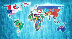 National flags on world map Stock Illustration