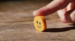 2988 Child Holding Smiley Face Eraser, 4K - stock footage