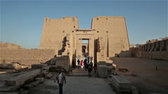 ANCIENT WALLS & TWIN PYLON, TEMPLE HORUS, EDFU,  EGYPT Stock Footage