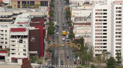 Overhead View of Traffic in Chinatown Downtown Los Angeles California Stock Footage