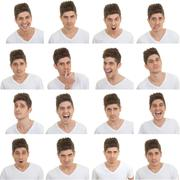 Set of male facial expressions Stock Photos