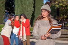bully teenagers - stock photo