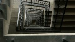 High rise concrete stairwell tracking shot. Stock Footage