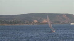 FELUCCA IN FULL SAIL, RIVER NILE, EGYPT Stock Footage