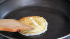 Making Pancake, Crepes, Flapjack on Frying Pan Stock Footage