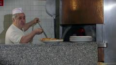 Happy Man Chef Cooking Pizza Restaurant Kitchen People Pizzamaker Oven Stock Footage