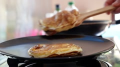 Frying Pancakes for Tasty Healthy Breakfast Stock Footage