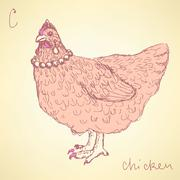 Sketch chicken hipster in vintage style Stock Illustration
