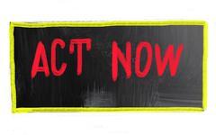 Act now concept Stock Photos