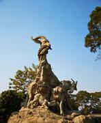 Five goats statue in Guangzhou city China - stock photo