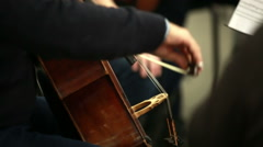 Man playing the cello. Bowed string instrument in the orchestra. Stock Footage