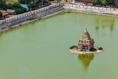 Temple Tank of Lord Bhakthavatsaleswarar Coil - stock photo