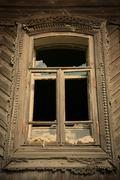 Old-time window with splinter flow Stock Photos