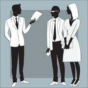 Head businessman gives the job to employees Stock Illustration