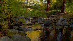 Stock Video Footage of View of arch bridge over river in Lithia park, Ashland