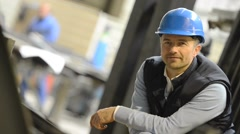Portrait of supervisor in industrial factory Stock Footage
