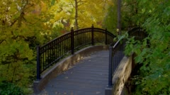View of bridge in Lithia Park, Ashland - stock footage