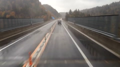 Timelapse highway driving on a rainy day Stock Footage