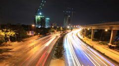 highway driving busy traffic time lapse at night - stock footage