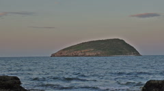 Night falling on Puffin Island, Anglesey, North Wales Stock Footage