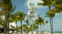 A1A road sign, Fort Lauderdale Florida Scenic Highway Stock Footage