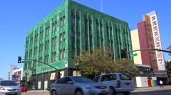 Establishing shot of downtown Oakland, California near the Paramount theater. Stock Footage