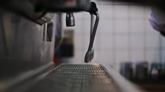 Preparation of americano on a coffee machine Stock Footage
