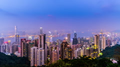 The panorama view of Victoria Harbour from the Peak in Hong Kong,China Stock Footage