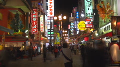 Timelapse tourist people visit Dotonbori shopping district neon sigh night icon Stock Footage