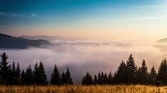 Time lapse clip. Fantastic mountain landscape with fog. Carpathian,  Stock Footage