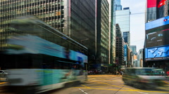 The busy traffic in the downtown of Hong Kong,China Stock Footage