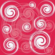 red and white spiral background - stock illustration